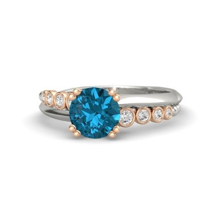 Round London Blue Topaz Palladium Ring with White Sapphire | Isabella Ring | Gemvara