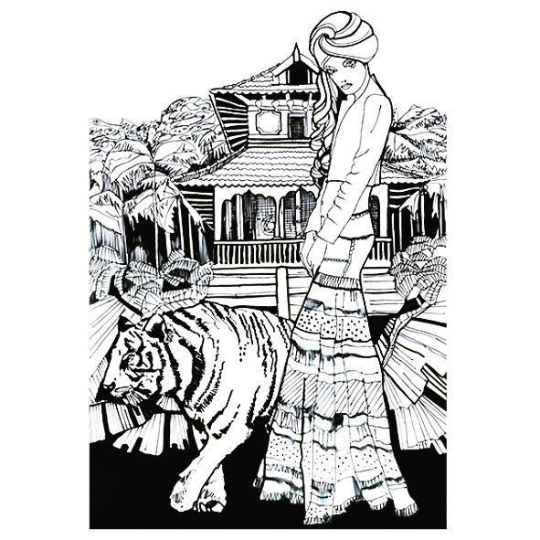 Morning tigers  another illustration Jungle series from 2010 #tiger #illustrationart #illustration #ink #inkart #instaart #fashionillustrator #drawing #drawingoftheday #sunny #jungle #jungleseries #tigergirl #artwork #graphics #blackandwhite #inky