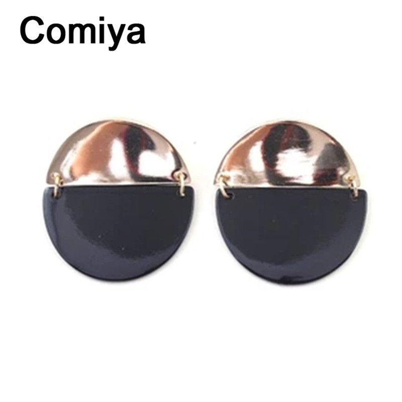 Comiya declaración punk ronda nuevo disco de colores pendientes de la gota de color negro para las mujeres grandes de la moda del verano pendiente de la joyería del partido de tarde