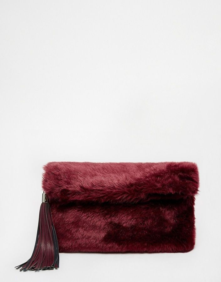 8add65b1bc ASOS COLLECTION ASOS Faux Fur Roll Top Clutch Bag With Chunky Tassel -  Click link for product details :)