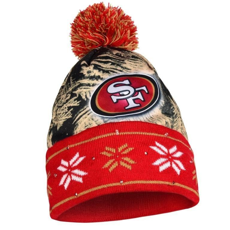 80879e02bc5 NFL Big Logo Light Up Printed Beanie Knit Cap (San Francisco Stand out in  the crowd and stay warm while supporting your team in this light up cuffed  knit ...