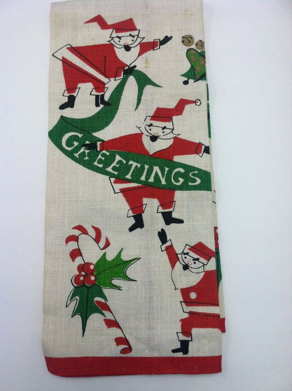 kitchen towel christmas vintage