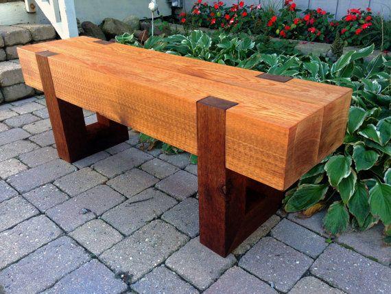 Wood Bench Outdoor Modern Rustic Garden Patio Entryway