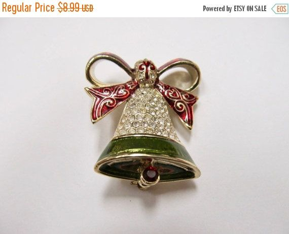 ON SALE MONET Sparkling Enameled Christmas Bell by KittyCatShop