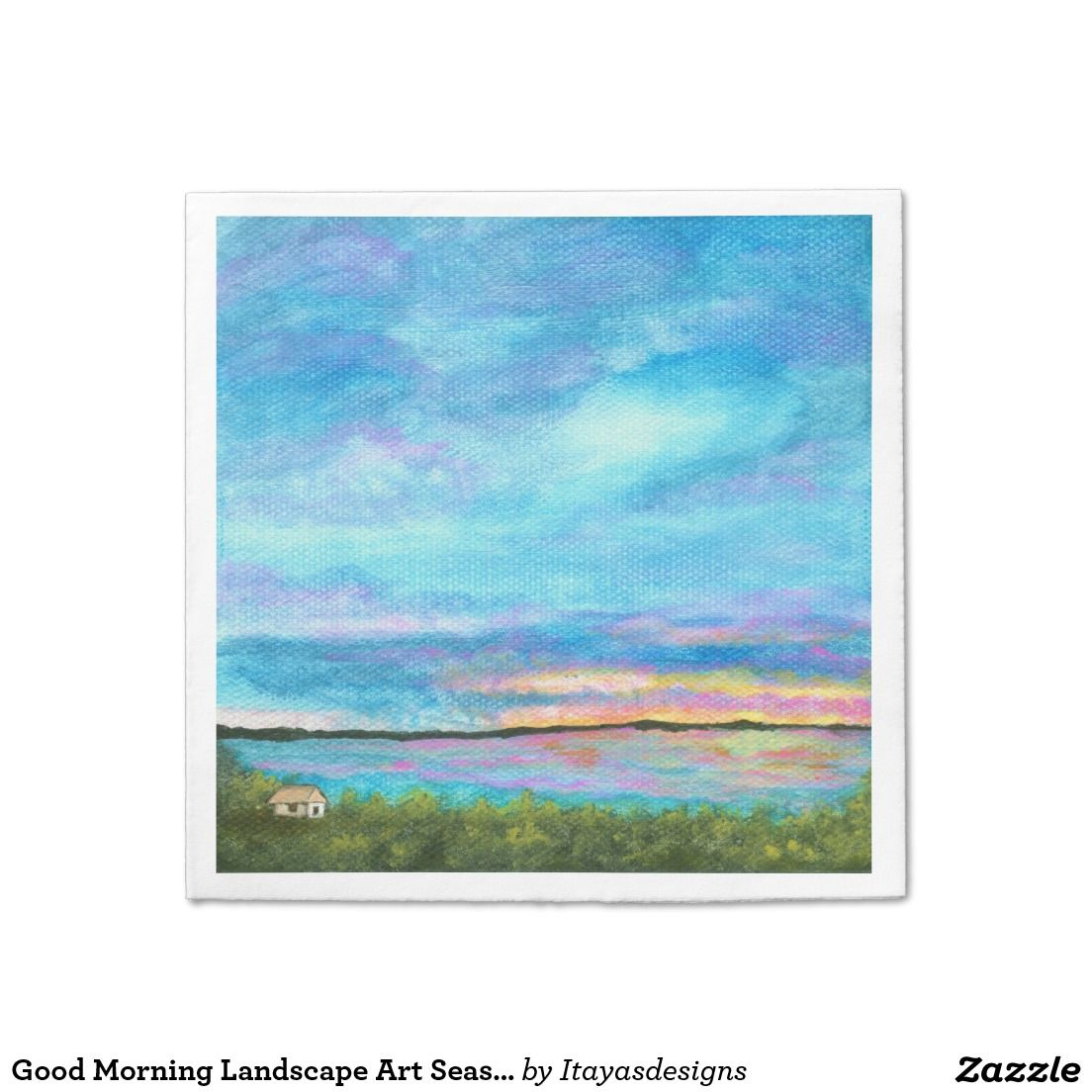 Good morning landscape art seashore beach sunrise napkin landscape art seashore beach sunrise daycare large business cards pack of magicingreecefo Image collections