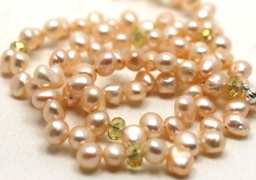 gorgeous pale peachy pink potato pearls and crystals necklace.