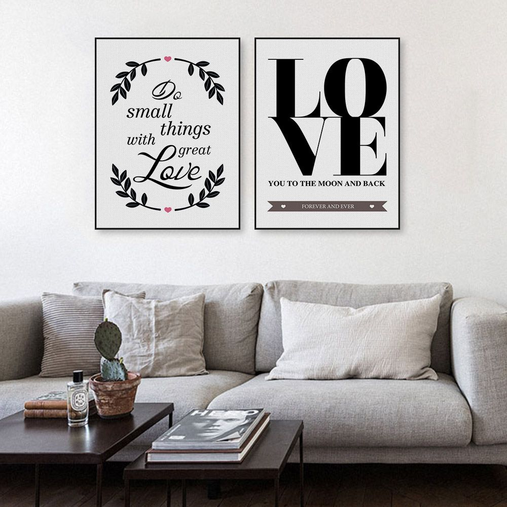 Freeshipping Modern Black White Minimalist Typography Love Quotes Set Art Print Poster Wall Picture Canvas Painting No Framed Home Decor By TheMildArt Via