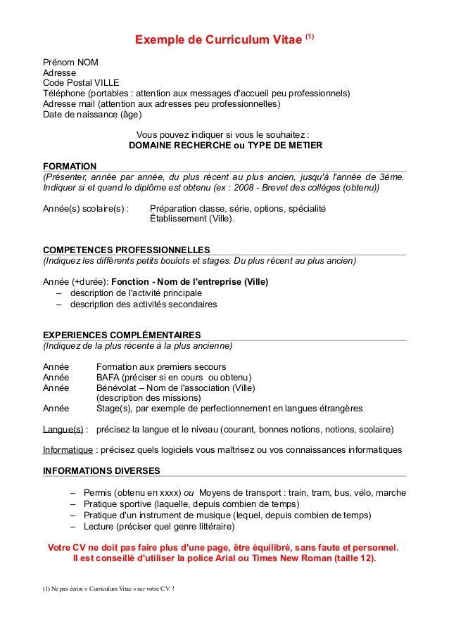 Préférence modele cv stage pratique bafa | BOULOT | Pinterest | Bafa, Cv et  OW71