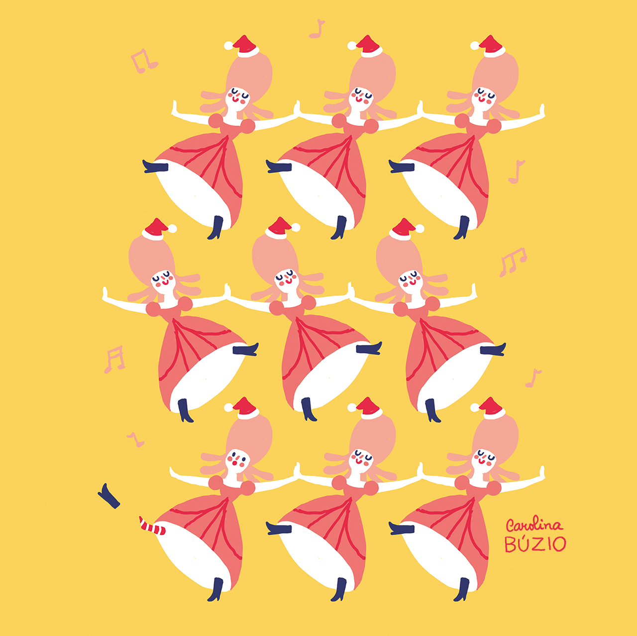 9 ladies dancing and 9 days for december to start by carolina buzio  [ 1280 x 1277 Pixel ]
