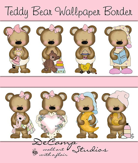 Teddy Bear wallpaper border wall decals for baby girl ...
