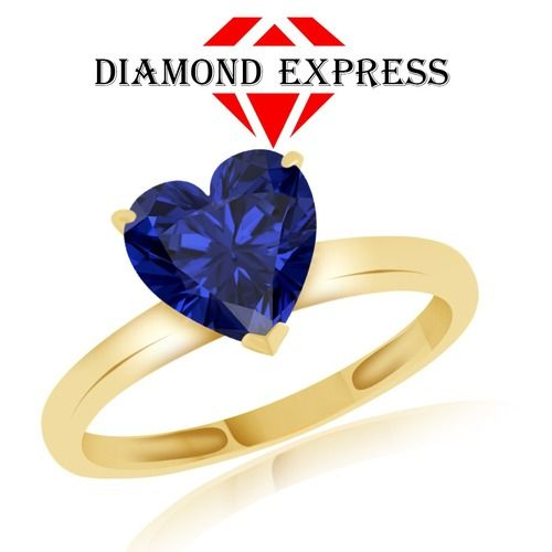 """1.71 Ct Heart Shape Blue Sapphire Solitaire Ring 14Kt Gold """""""". Starting at $89"""