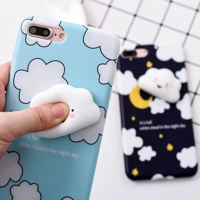 Lovely 3D Cute Soft Silicone Cartoon Cat White Clouds Squishy Phone Iphone 5 5S SE 6 6S 7 7 8 Plus Animal Kitty Cover
