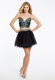 beaded two piece tulle dress  two piece short dress prom