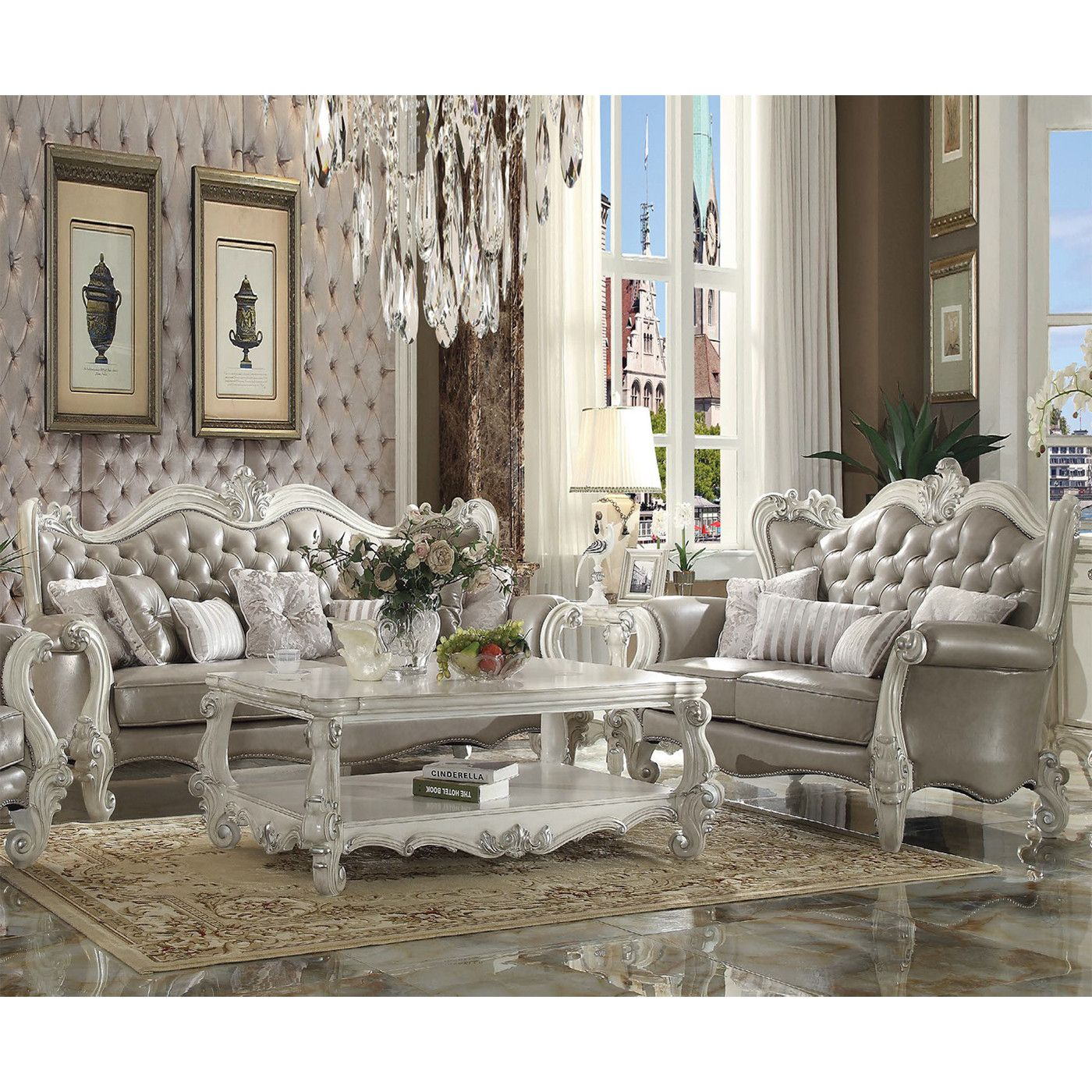 Acme Furniture 52125a Versailles Sofa Tufted Vintage Gray