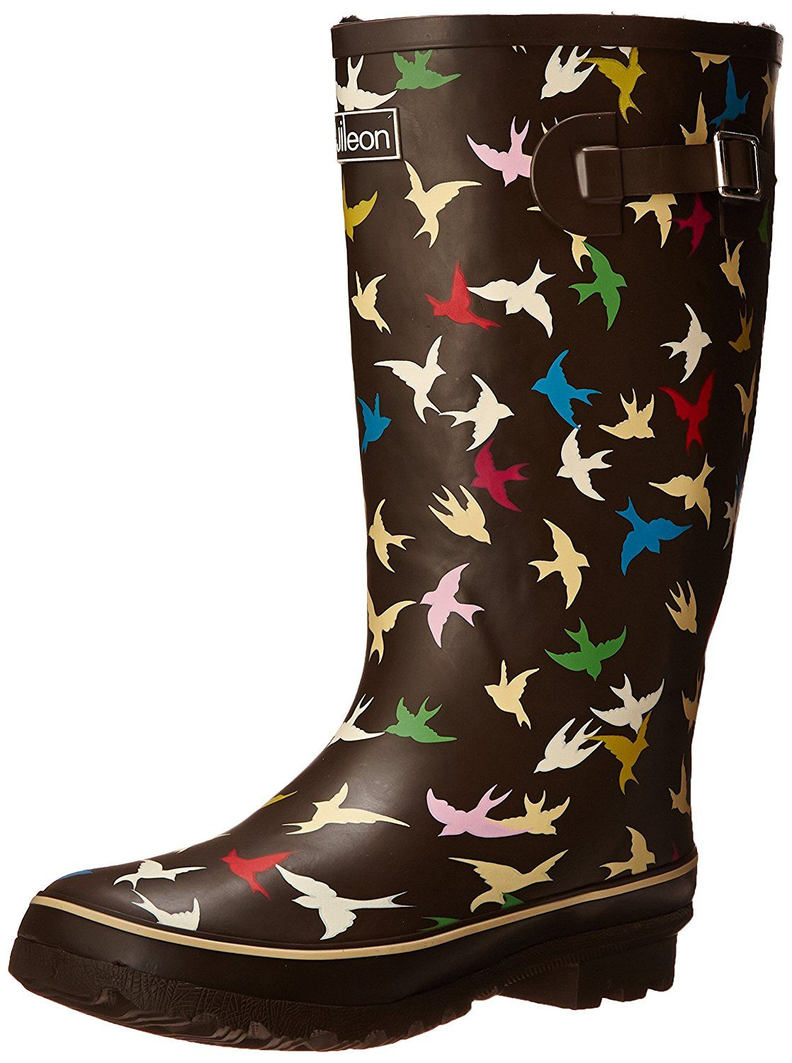 0bb15adb71df Wide Calf Wellies - Fit up to 18 inch calf - Brown with Coloured Birds -  Fleece Lined    Read more reviews of the product by visiting the link on  the image.