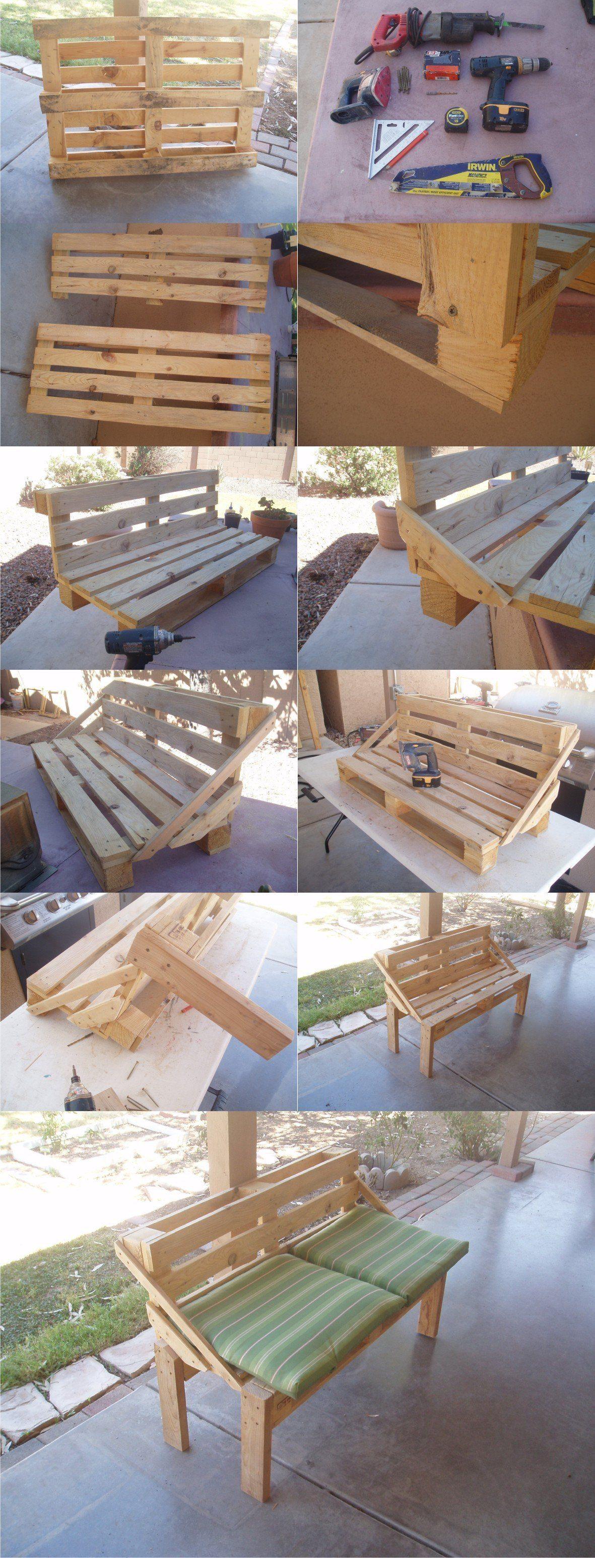 Banco diy con un pal dise o con tarimas diy for Reciclado de palets sillones