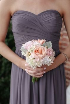 pinterest charcoal bridesmaids dresses with peach flowers - Google Search