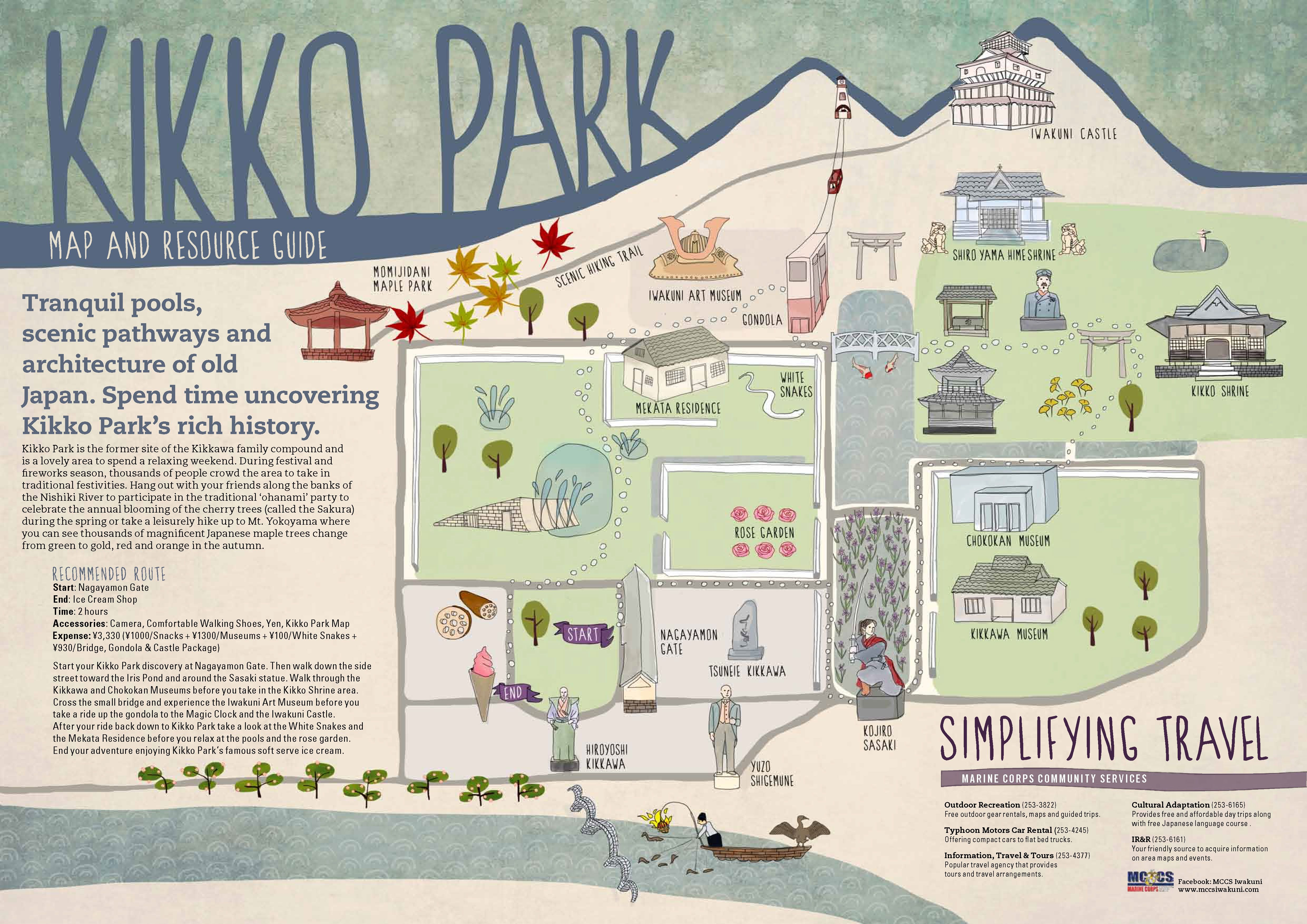 An easy to use map of Kikko Park in Iwakuni, Japan  includes