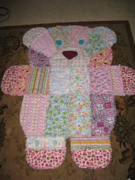 Teddy Bear Shaped Rag Quilt Pattern | The WHOot