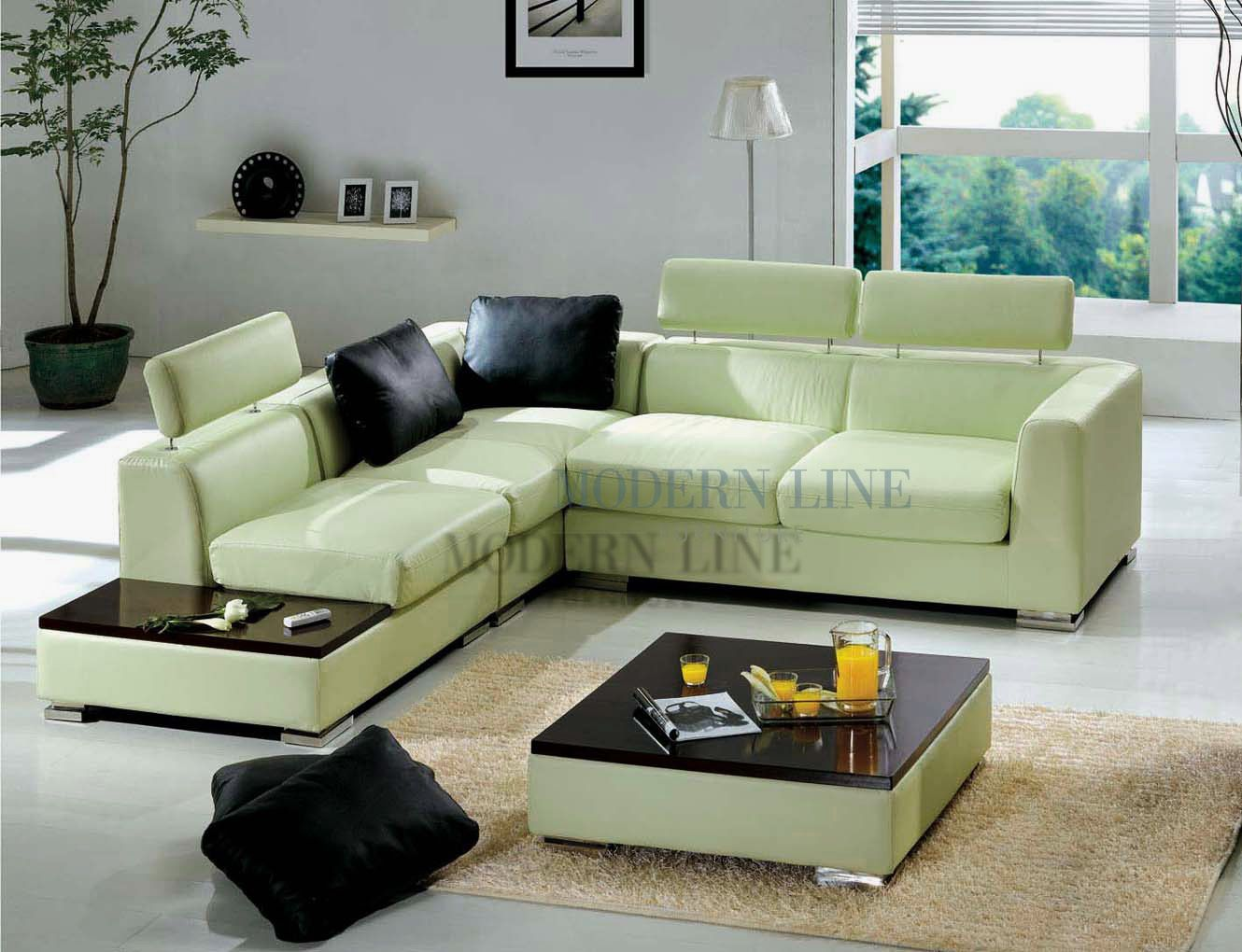 - Contemporary Furniture Beautiful Light Green Leather Sectional