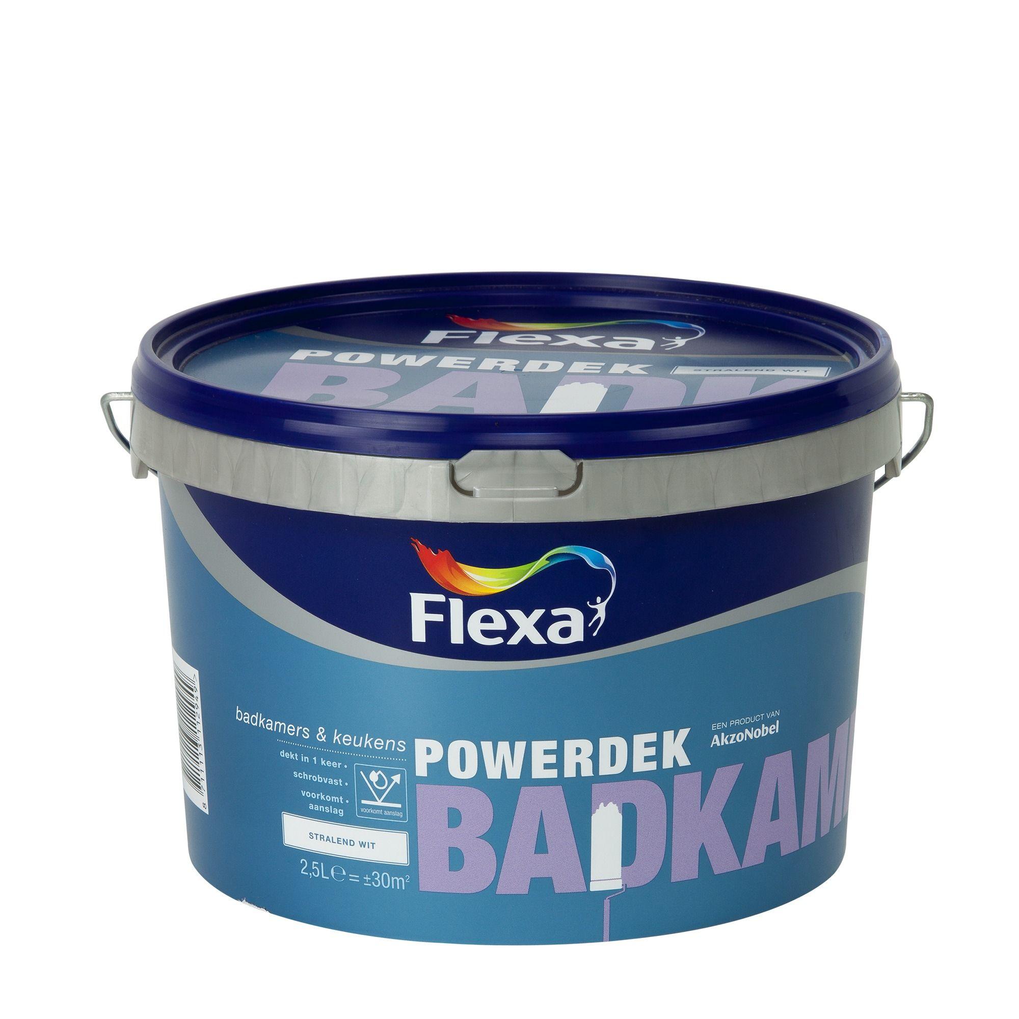 Flexa Powerdek latex Badkamer & Keuken stralend wit mat 2,5 liter ...