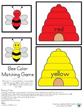 This Is A Bee Color Matching Game I Made And Put On Tpt It S Free The Children Match The Bee To The Correc Preschool Colors Bee Classroom Insects Preschool