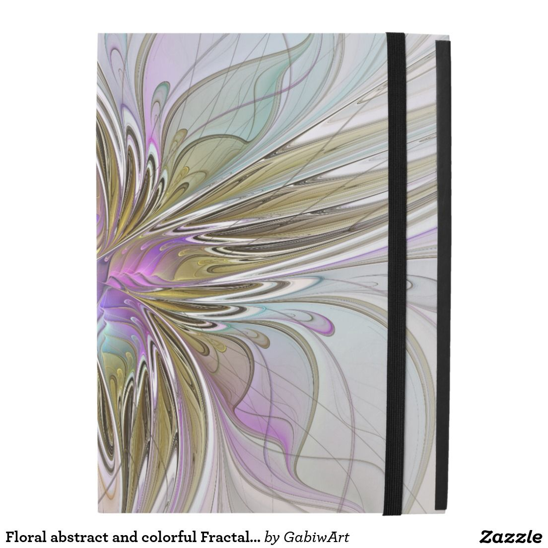 Floral abstract and colorful fractal art ipad pro case