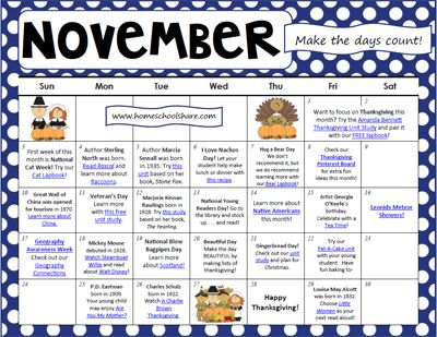 November Activity Calendar For Homeschool  Friday Fun School Ideas