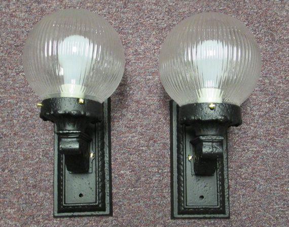Matching Pair Antique Victorian Cast Iron Porch Light
