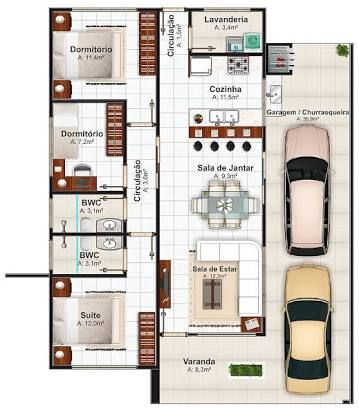 Resultado de imagen para planta de casas 80m2 com garagem Casa - plan maison plain pied 80m2
