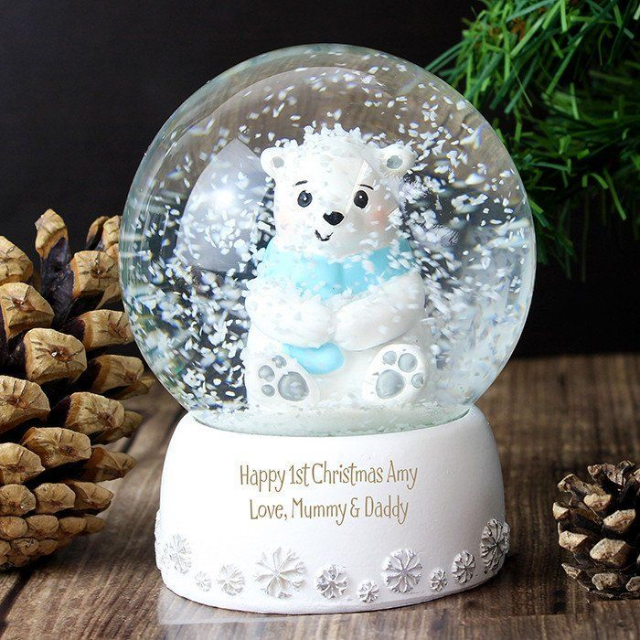 Image result for babys best first christmas snow globes babys babys first christmas gift cute polar bear snow globe can be personalised with a name or message to celebrate babys first christmas negle Image collections