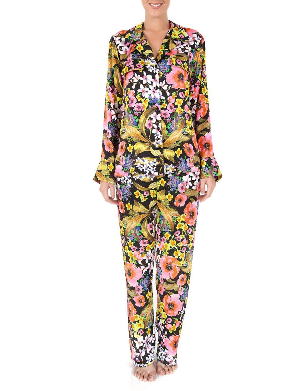 Pijama Longo Abotoamento Laila Floral - Joge