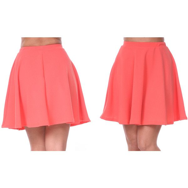Flare Heidi Circle Skirt (£12) ❤ liked on Polyvore featuring skirts, coral, circle skirt, coral skirt, red skirt, coral skater skirt and red flared skirt