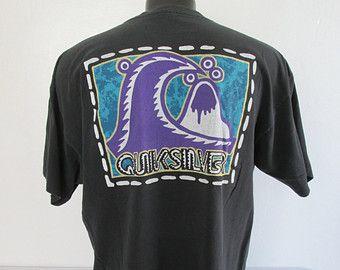 91e709a33e Vtg 90s Quicksilver Surf Skate USA made Black Shirt Large | T-shirt ...