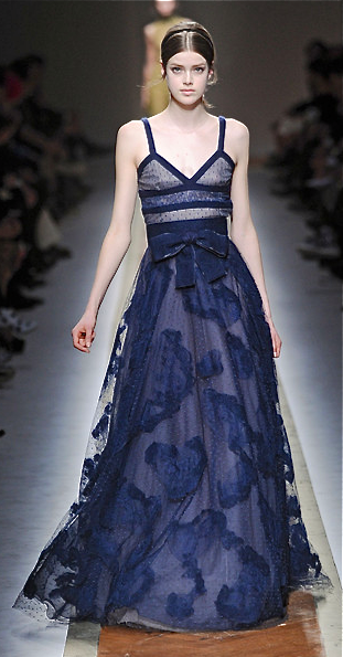 Valentino Blue Runway Fashion Couture Gown