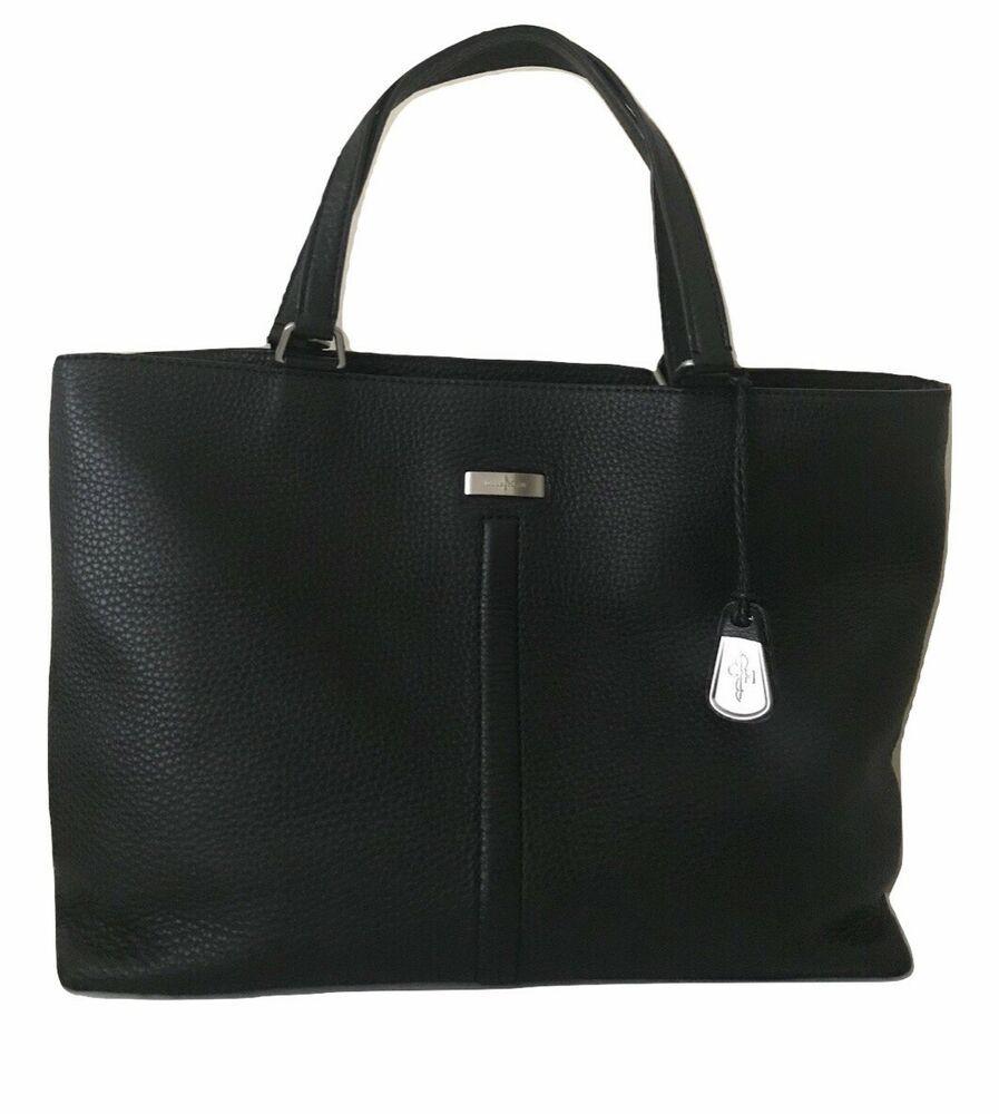 b3836c19e0 Cole Haan Womens Black Pebbled Leather Satchel Shoulder Laptop Business Bag  #ColeHaan #Satchel