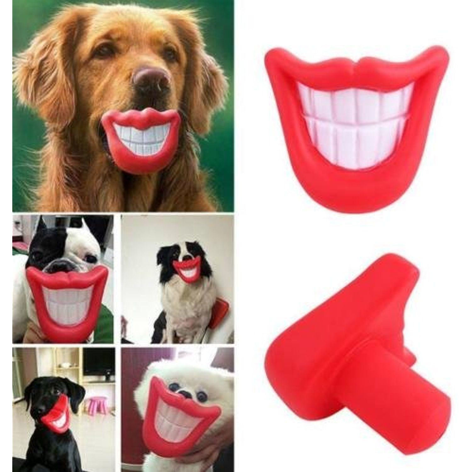 Unakim Puppy Dog Toys Big Red Rubber Lips For Pet Dog With Sound