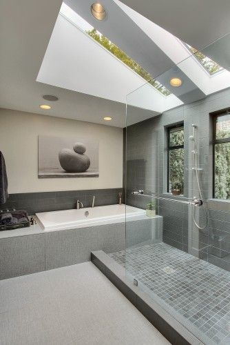 23 Gorgeous Bathrooms That Unleash The Radiance Of Skylights Contemporary Bathroom Designs Beautiful Bathrooms Bathroom Design