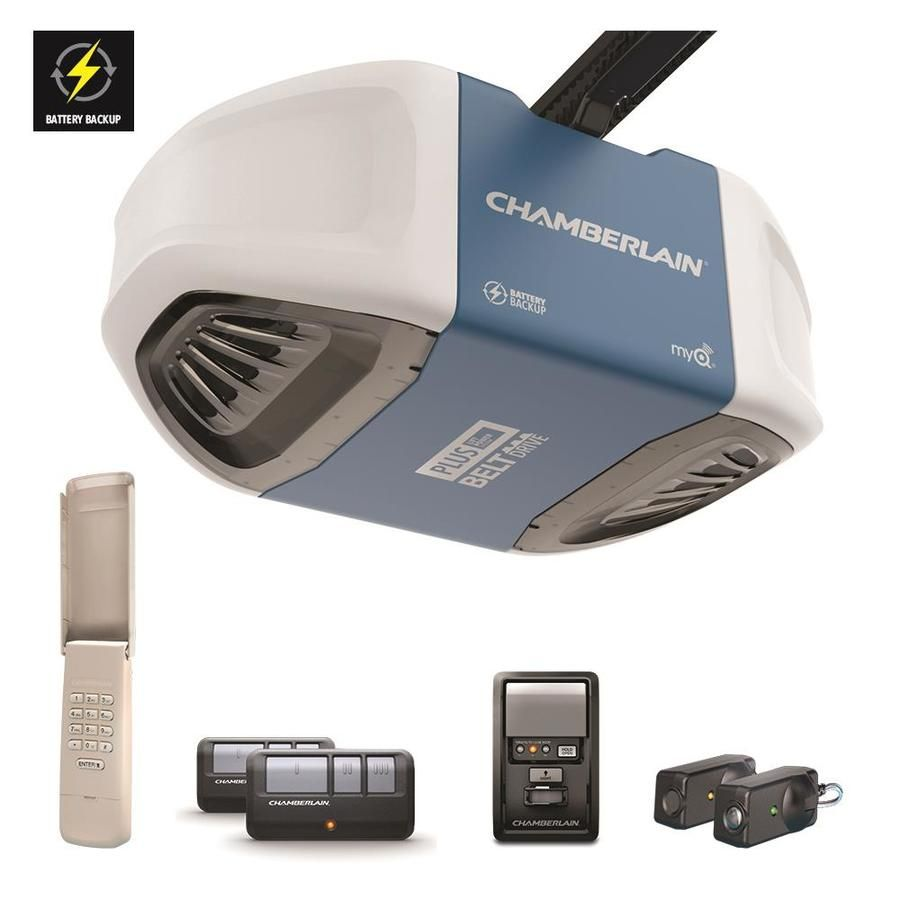 Chamberlain 0 75 Ultra Quiet And Strong Belt Drive Garage Door Opener Battery Back Up Smart Garage Door Opener Garage Door Opener Chamberlain Garage Door Opener
