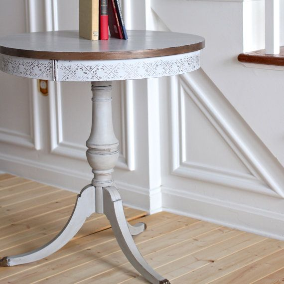 Duncan Storage Coffee Table: Duncan Phyfe Gray Painted Drum Table, Library Side Table