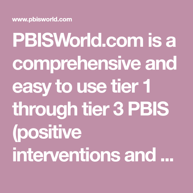 Easy More Comprehensive: PBISWorld.com Is A Comprehensive And Easy To Use Tier 1