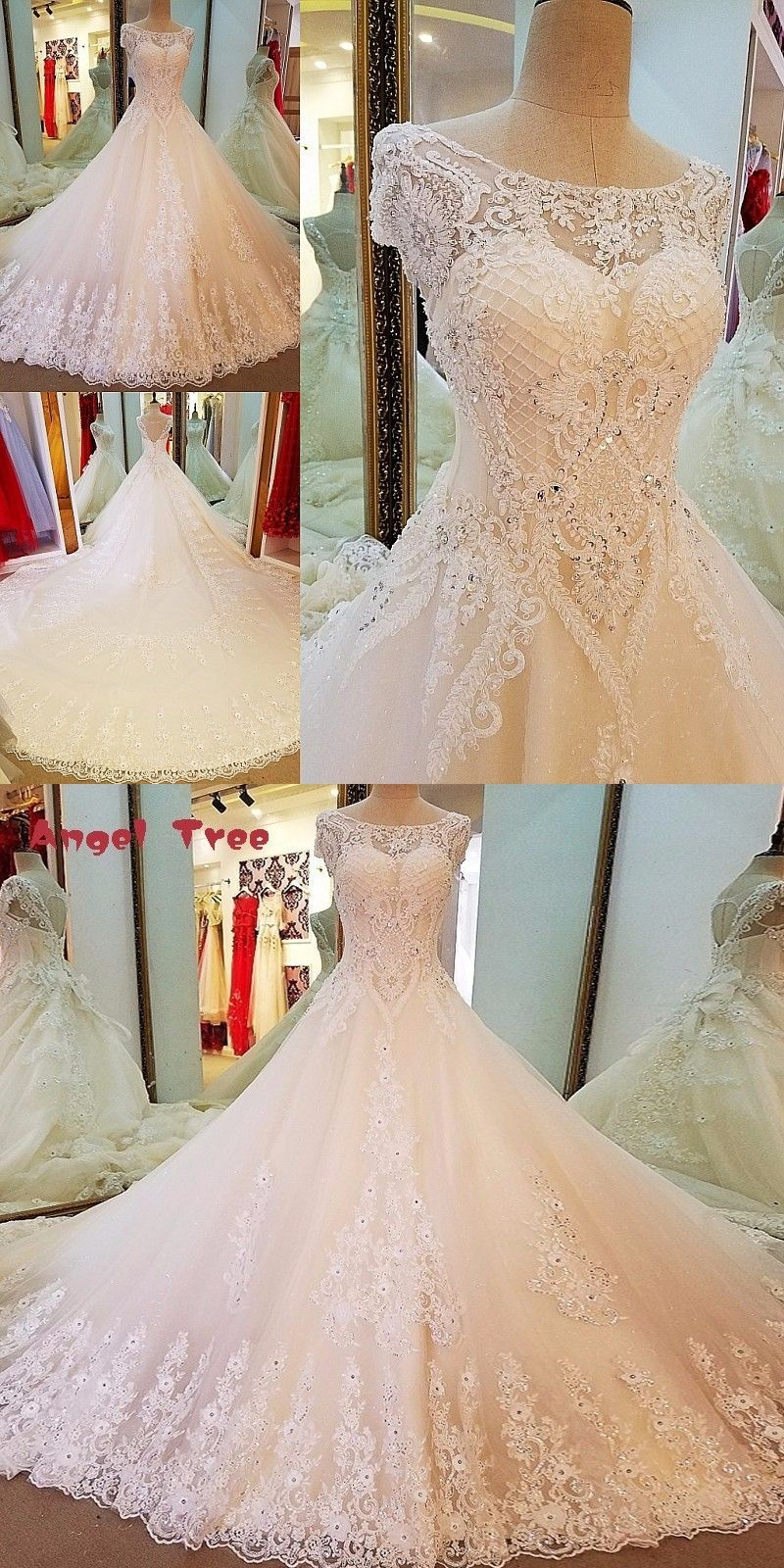 c5ce24c83a4 Angel Tree Long tail wedding dress ball gown lace up back short sleeves  beading vestidos de
