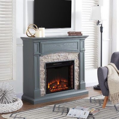 Salski Electric Media Fireplace Gray With Weathered Stone Aiden