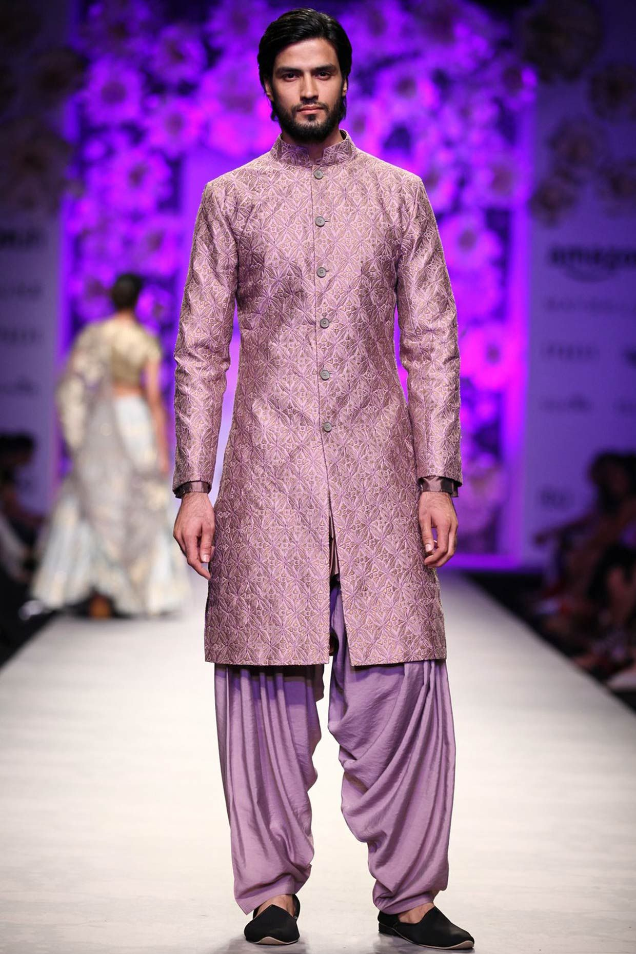 Rose diamond pattern zari embroidered sherwani and dhoti pants ...