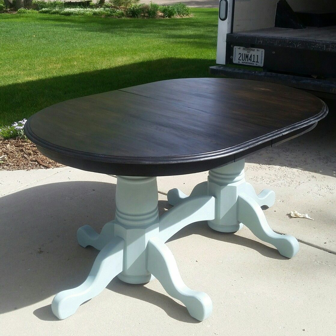90s Honey Oak Table Refinished In Annie Sloan Duck Egg And General