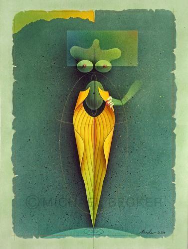 """""""Blattfigur auf grün"""" von Michael Becker (micbec), 37,5x50cm, 2001"""