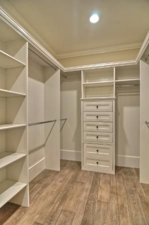 Nice And Simple Walk In Closet With Shelves Drawers And