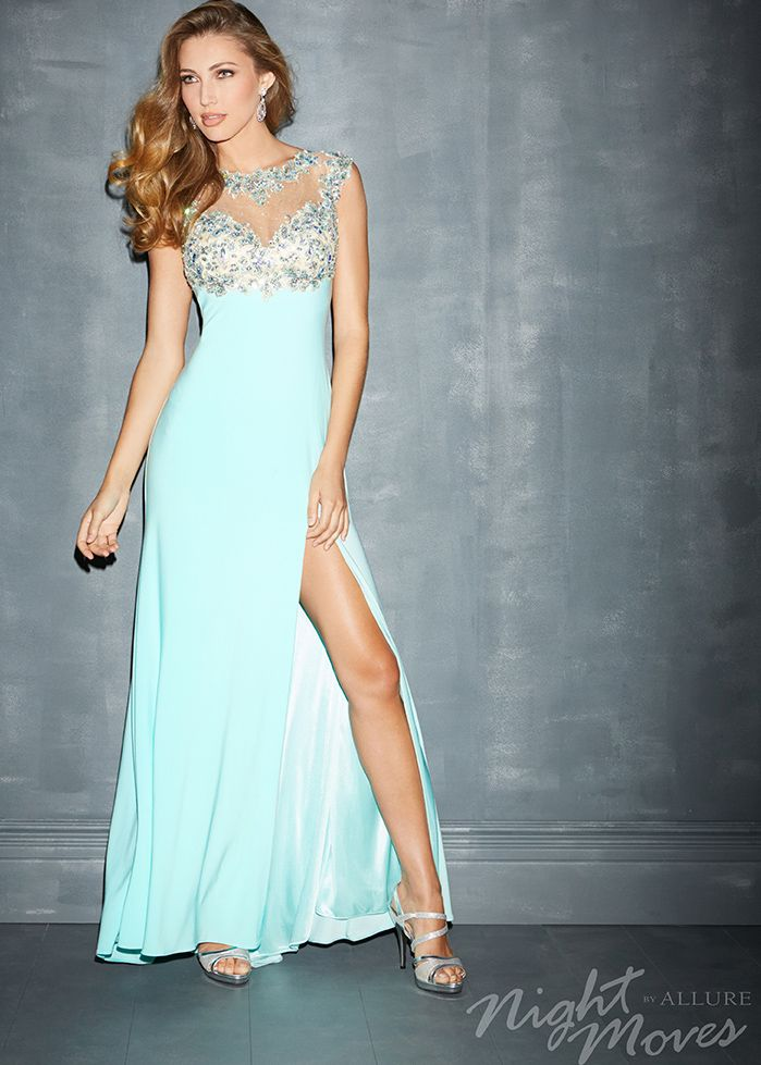 Shop for new prom 2014 dresses, Night Moves by Allure 7001 blue ...