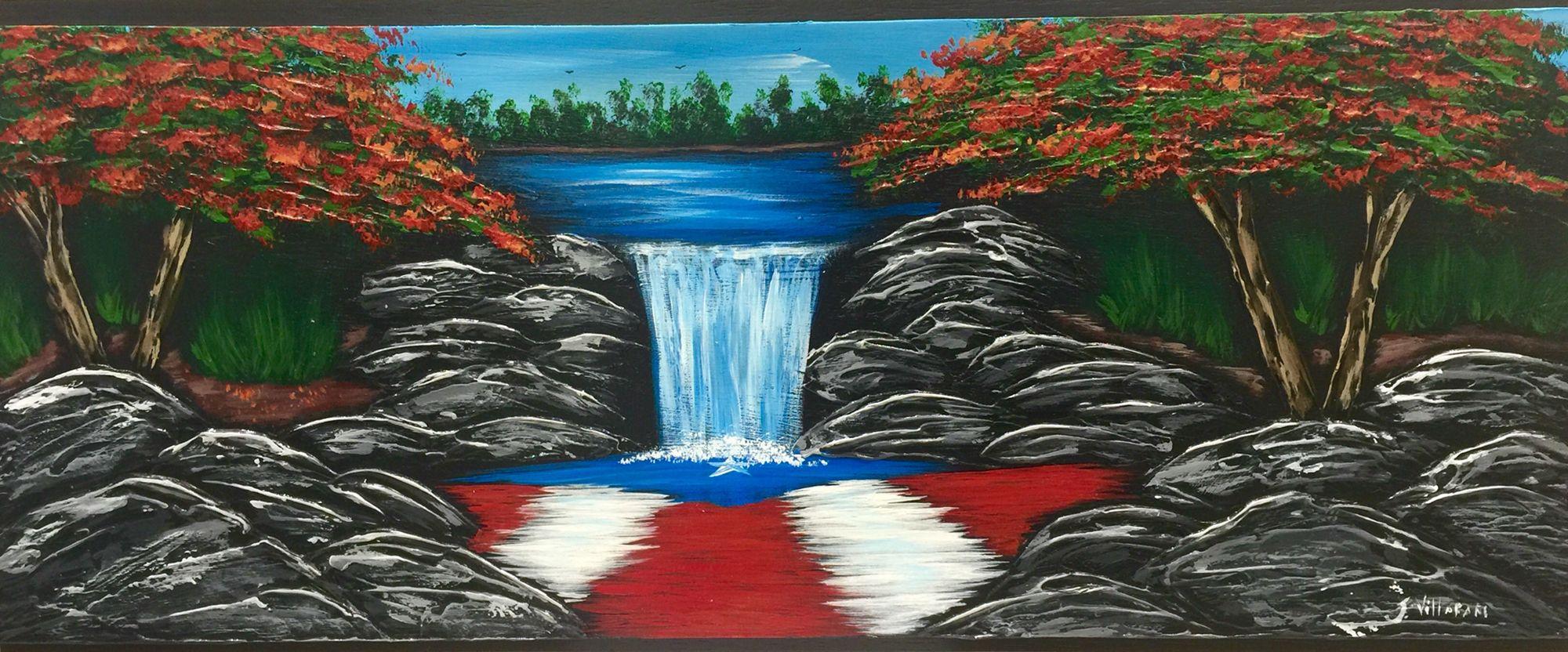 Cascada Y Flamboyanes Con Bandera De Puerto Rico Puerto Rico Art