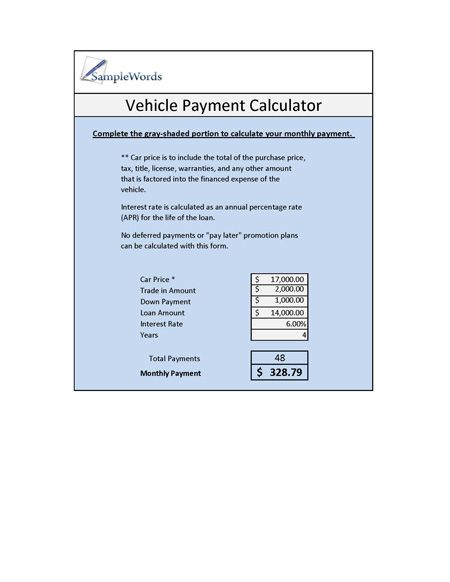 Vehicle Loan Calculator  Microsoft Excel  Calculator Loan
